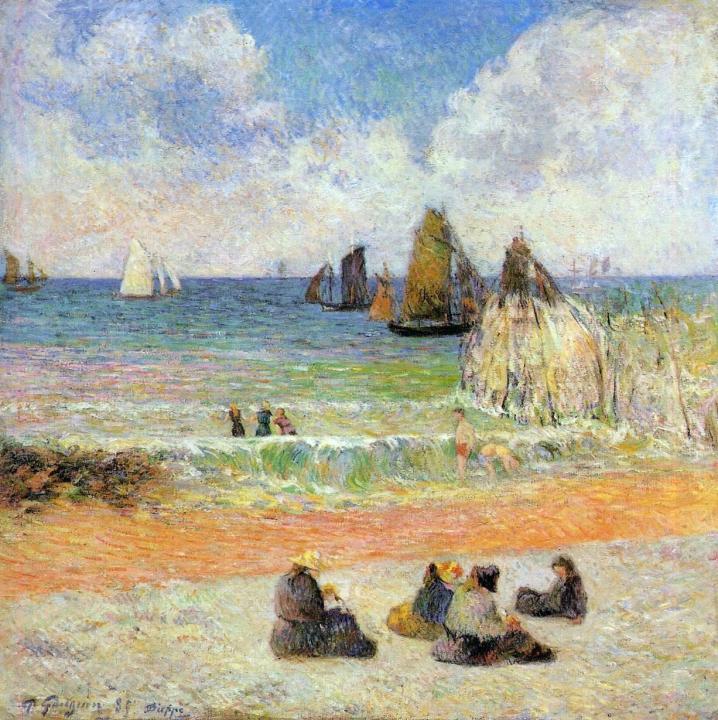 пляжный пейзаж Купание, Дьепп :: Поль Гоген - Paul Gauguin фото
