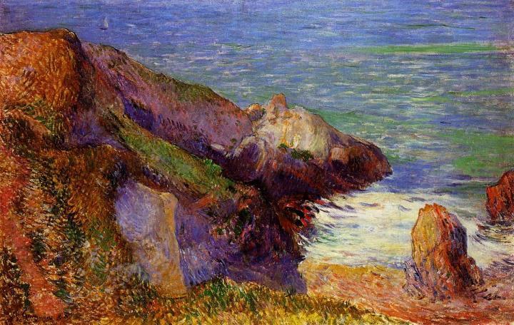 Морской пейзаж Скалы на морском побережье :: Поль Гоген - Paul Gauguin фото
