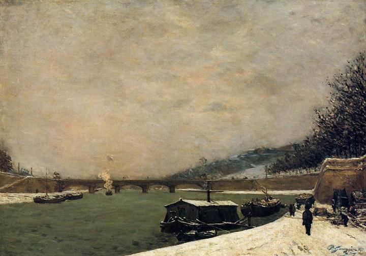 Речной пейзаж Сена, заснеженный мост д'Ена  :: Поль Гоген, живопись постимпрессионизм - Paul Gauguin фото