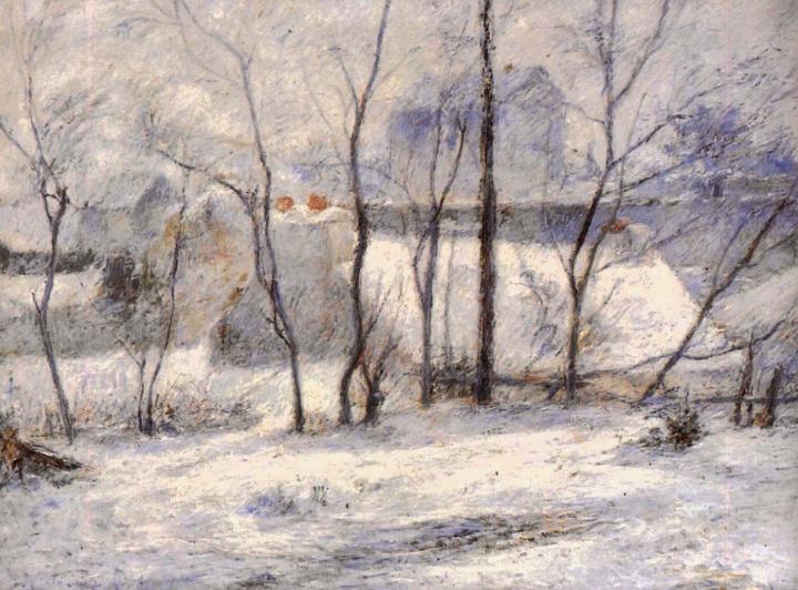 Зимний пейзаж, последствие снегопада (Снег в Вогирарде) :: Поль Гоген - Paul Gauguin фото