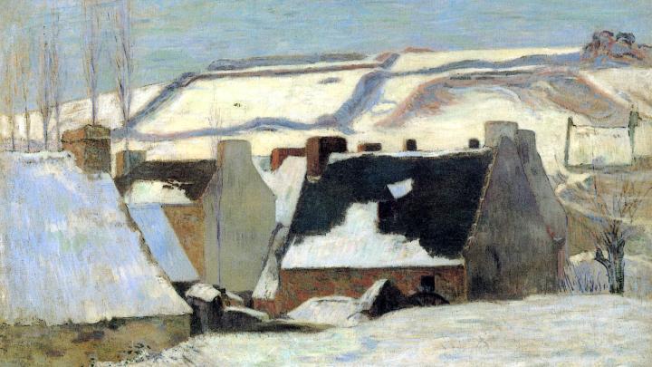 Зимний пейзаж Бретонская деревня в снегу :: Поль Гоген - Paul Gauguin фото