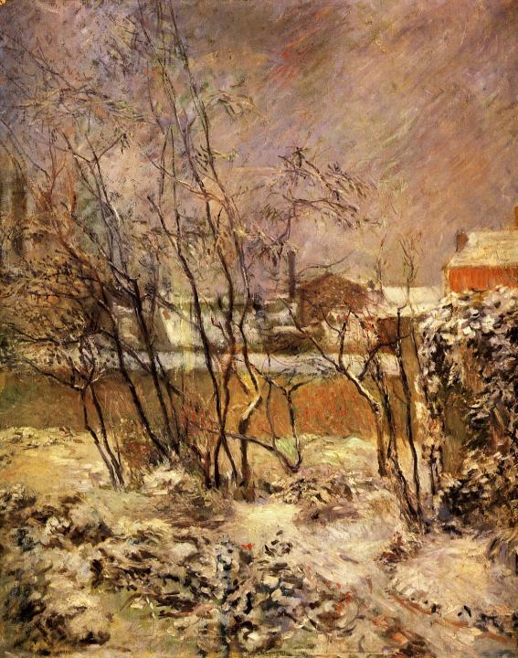 Зимний пейзаж Снег на улице Карсель :: Поль Гоген - Paul Gauguin фото