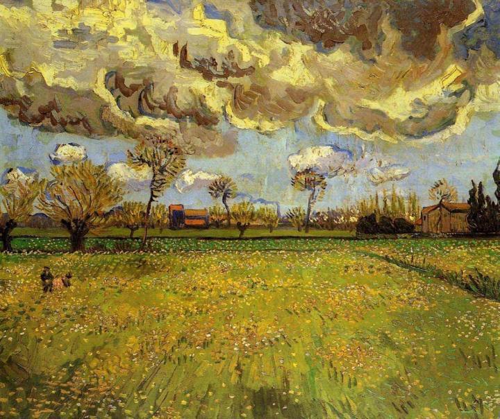 Пейзаж под грозовым небом :: Ван Гог, описание картины - Van Gogh фото