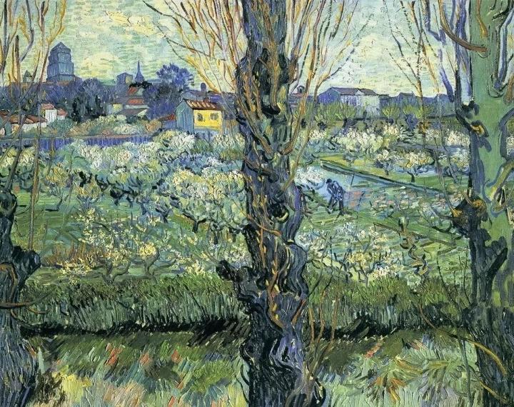 пейзаж Цветущий сад с тополями :: Ван Гог, описание картины - Van Gogh фото