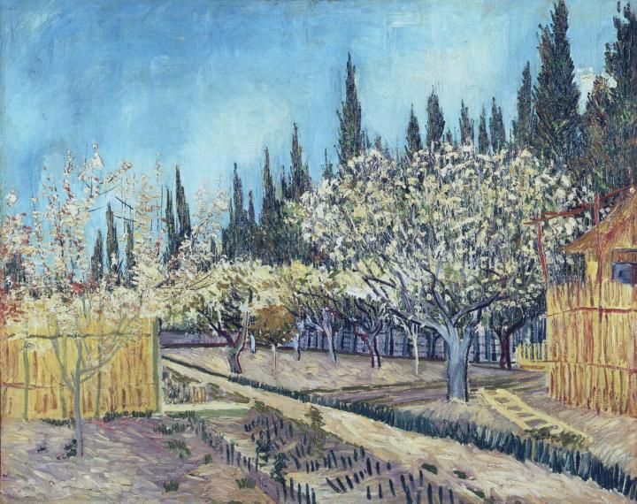 пейзаж Сад, окружённый кипарисами :: Ван Гог, описание картины - Van Gogh фото