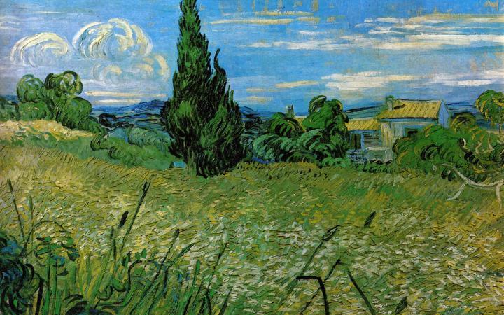 """пейзаж """"Пшеничное поле с кипарисами"""" :: Ван Гог, описание картины, плюс статья про арт подарки - Van Gogh фото"""