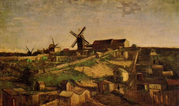 городской пейзаж Виды Монмартра с ветряными мельницами :: Ван Гог, описание картины - Van Gogh фото