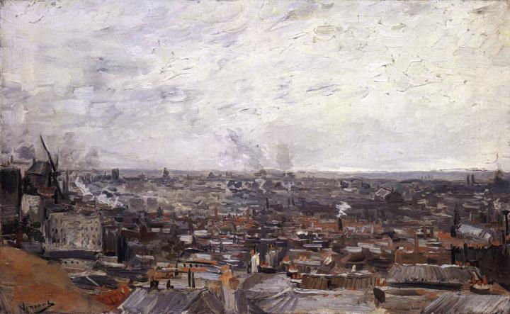 Вид на Париж с Монмартра [ картина - городской пейзаж ] :: Ван Гог, описание картины - Van Gogh фото