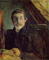 Гоген Поль ( Paul Gauguin ) - Автопортрет за мольбертом