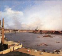 """Canalletto - """"Лондон. Темза и дома пригорода Ричмонда"""""""