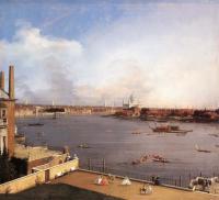 "Каналетто  [ Джованни Антонио Канал) ] - ""Лондон. Темза и дома пригорода Ричмонда"""