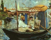 Моне Клод (Claude Monet) - Клод Моне в своей лодке-студии