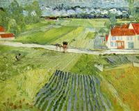 Van Gogh - Пейзаж с повозкой и поездом