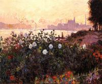 Моне Клод (Claude Monet) - Аржантёй, цветы на берегу реки