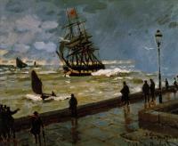 Моне Клод (Claude Monet) - Пристань в Гавре, непогода