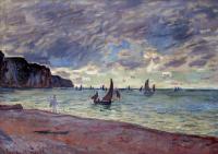 Море в живописи ( морские пейзажи, seascapes ) - Рыбацкие лодки близ пляжа и утёсов, Пурвилль