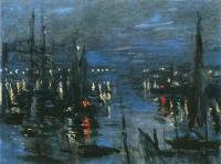 Море в живописи ( морские пейзажи, seascapes ) - Порт Гавр ночью