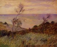 Моне Клод (Claude Monet) - Скалы Варенживилль, ветер