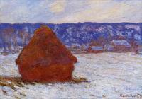 Claude Monet - Стог сена в пасмурную погоду, выпал снег