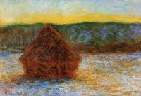 Claude Monet - Стог сена на закате, оттепель