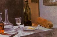 Моне Клод (Claude Monet) - Натюрморт с бутылкой, графином, хлебом и вином