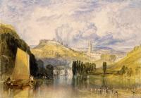 картина  город Тотнес, в речной стрелке :: Уильям Тёрнер ( William Turner )