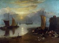 картина  Солнце, поднимающееся на Вагором, рыбаки, чистящие и продающие рыбу :: Уильям Тёрнер ( William Turner )