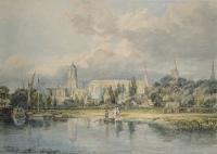 картина  Вид южной стороны церкви Христа со стороны луга :: Уильям Тёрнер ( William Turner )