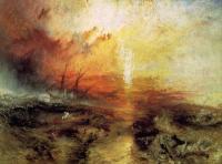 картина  С судна, перевозящего рабов, бросают за борт умирающих и мёртвых, надвигается тайфун :: Уильям Тёрнер ( William Turner )