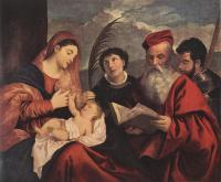 Tiziano Veccellio (Тициан) - Мария с младенцем и святыми