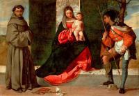 Tiziano Veccellio (Тициан) - Мадонна и ребенок со святым Антонием из Падуи и св. Рохом