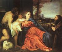 Tiziano Veccellio - Святое семейство и даритель