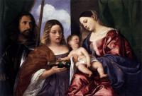 Tiziano Veccellio - Мадонна и ребенок со святой Доротеей и Георгием