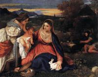 Tiziano Veccellio - Мадонна с младенцем со Св. Екатериной и кроликом