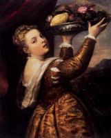 Tiziano Veccellio (Тициан) - Молодая женщина с блюдом фруктов