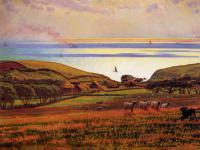 Море в живописи ( морские пейзажи, seascapes ) - Солнечный свет холмов отражается в море