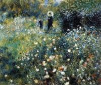 картина Женщина с зонтиком в саду :: Ренуар Пьер Огюст