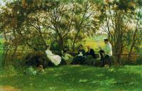Репин Илья ( Ilya Yefimovich Repin ) - На дерновой скамье