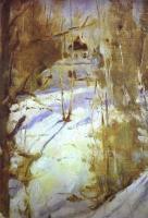 Пейзаж ( пейзажная живопись ) - Зима в Абрамцево. Церковь