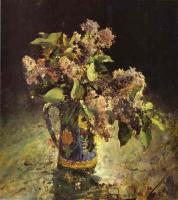 Цветы и натюрморты - картины художников прошлых веков - Букет сирени в вазе