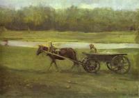 Пейзаж ( пейзажная живопись ) - Баба в телеге