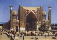 Архитектура - Медресе Шир-Дор на площади Регистан в Самарканде
