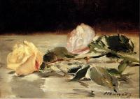 Цветы и натюрморты - картины художников прошлых веков - Две розы на покрывале