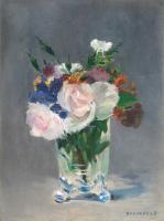 Цветы и натюрморты - картины художников прошлых веков - Букет в хрустальной вазе