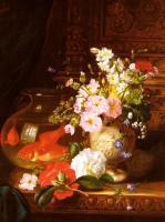 Цветы и натюрморты - картины художников прошлых веков - Натюрморт с камелиями, первоцветами, лилией и аквариумом с золотыми рыбками