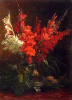 Цветы и натюрморты - картины художников прошлых веков - Натюрморт с гладиолусами и розами