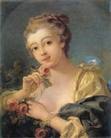 Цветы и натюрморты - картины художников прошлых веков - Юная девушка с букетом роз