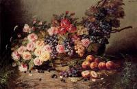 Цветы и натюрморты - картины художников прошлых веков - Натюрморт с розами, персиками и виноградом в корзине