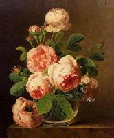 Цветы и натюрморты - картины художников прошлых веков - Розы в стеклянной вазе