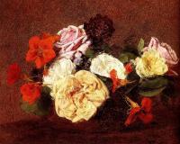 Цветы и натюрморты - картины художников прошлых веков - Букет из роз и настурций